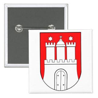 Hamburguesa escudo de armas pin cuadrado