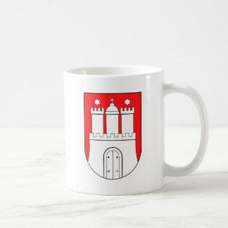 Hamburguesa escudo de armas taza básica blanca