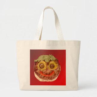 Hamburguesa feliz bolsa tela grande