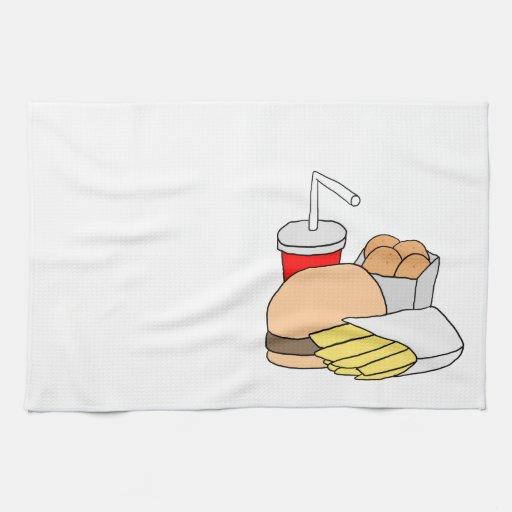 Hamburguesa, fritadas, pepitas de pollo y soda toallas de mano