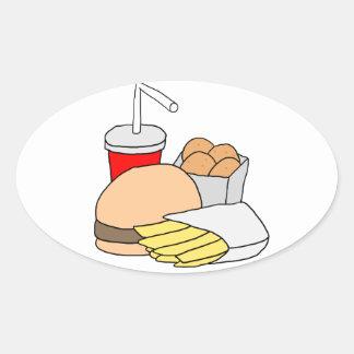 Hamburguesa, fritadas, pepitas de pollo y soda pegatina ovalada