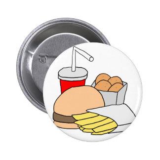 Hamburguesa, fritadas, pepitas de pollo y soda pin redondo de 2 pulgadas