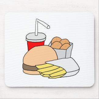 Hamburguesa, fritadas, pepitas de pollo y soda alfombrillas de ratones