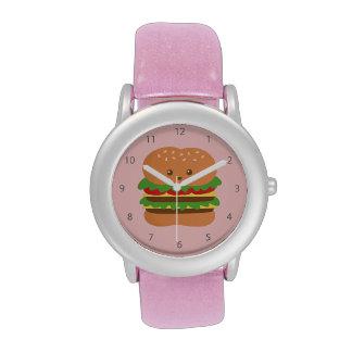 Hamburguesa grande linda y feliz, para los amantes relojes de mano
