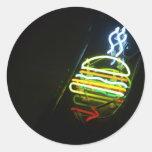 hamburguesa ligera pegatinas redondas