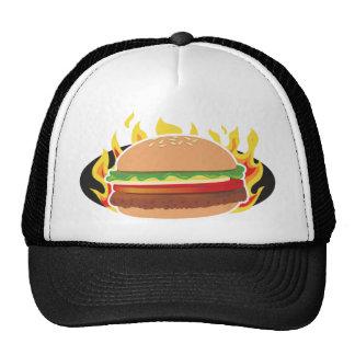 Hamburguesa llameante gorras de camionero