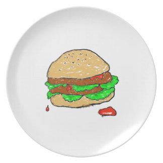 Hamburguesa manchada plato de cena