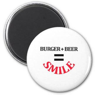 Hamburguesa más sonrisa de los iguales de la cerve iman para frigorífico