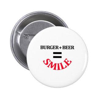 Hamburguesa más sonrisa de los iguales de la cerve pin redondo de 2 pulgadas