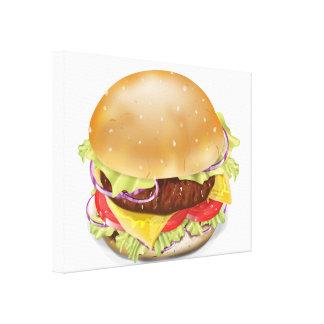 Hamburguesa o cheeseburger deliciosa impresion en lona