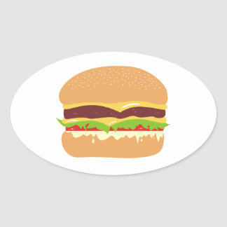 hamburguesa pegatina ovalada