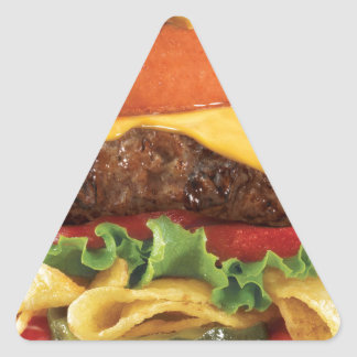 hamburguesa pegatina triangular