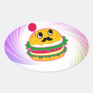 hamburguesa psicodélica del kawaii pegatina ovalada