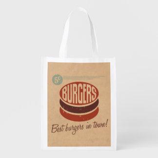 Hamburguesa retra bolsas de la compra