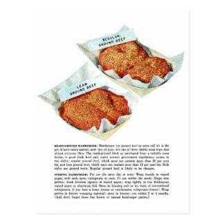 Hamburguesa retra de la carne picada de la comida postal