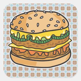 hamburguesa retra del queso calcomanía cuadrada