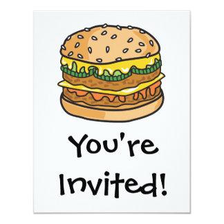"""hamburguesa retra del queso invitación 4.25"""" x 5.5"""""""