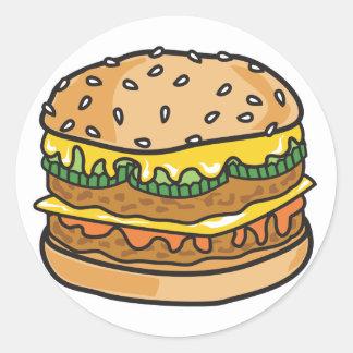 hamburguesa retra del queso pegatina redonda