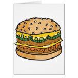 hamburguesa retra del queso tarjeta de felicitación