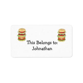 hamburguesa triple del apilador etiqueta de dirección
