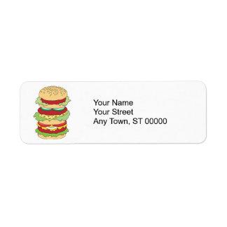hamburguesa triple del apilador etiqueta de remitente