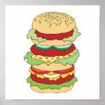 hamburguesa triple del apilador poster