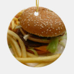 hamburguesa y fritadas adorno navideño redondo de cerámica