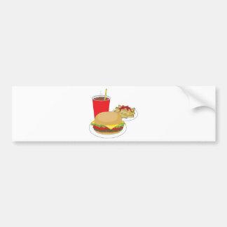 Hamburguesa y fritadas etiqueta de parachoque