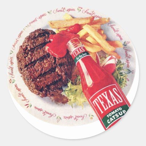 Hamburguesa y fritadas de la salsa de tomate de pegatina redonda