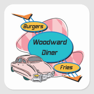 Hamburguesa y fritadas del comensal de Woodward Pegatina Cuadrada