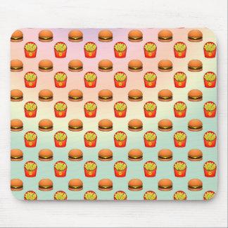 Hamburguesa y fritadas en colores pastel de Emoji Alfombrilla De Ratón