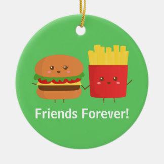 Hamburguesa y fritadas lindas, amigos para siempre ornatos