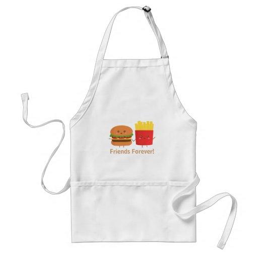 Hamburguesa y fritadas lindas, amigos para siempre delantal