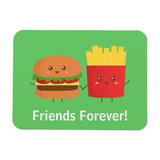 Hamburguesa y fritadas lindas, amigos para siempre iman