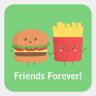 Hamburguesa y fritadas lindas, amigos para siempre pegatina cuadrada
