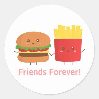 Hamburguesa y fritadas lindas, amigos para siempre pegatina redonda
