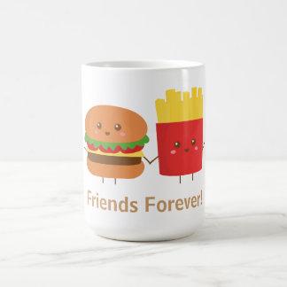 Hamburguesa y fritadas lindas amigos para siempre tazas de café