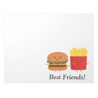 Hamburguesa y fritadas lindas, mejores amigos bloc de papel