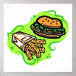 Hamburguesa y fritadas póster