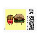 Hamburguesa y fritadas sellos postales