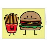 Hamburguesa y fritadas tarjeta de felicitación