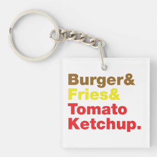 Hamburguesa y fritadas y salsa de tomate de tomate llavero cuadrado acrílico a doble cara