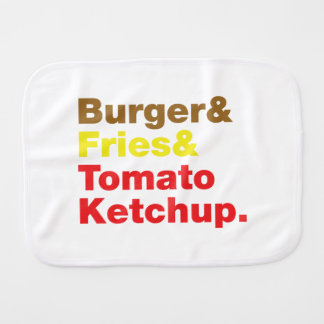 Hamburguesa y fritadas y salsa de tomate de tomate paños para bebé