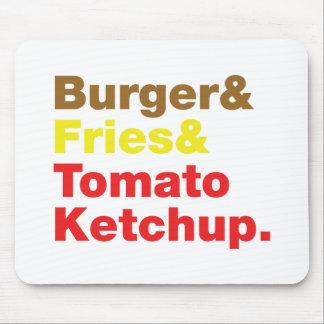 Hamburguesa y fritadas y salsa de tomate de tomate tapetes de raton