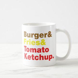 Hamburguesa y fritadas y salsa de tomate de tomate taza