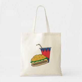 hamburguesa y refresco de los alimentos de prepara bolsa