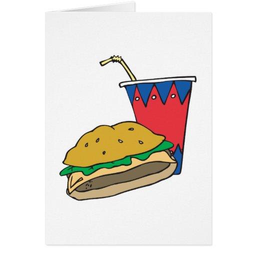 hamburguesa y refresco de los alimentos de tarjeta de felicitación