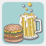 Hamburguesa y un Brew Pegatinas Cuadradas Personalizadas