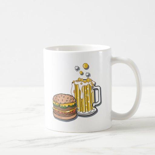 Hamburguesa y un Brew Taza Básica Blanca
