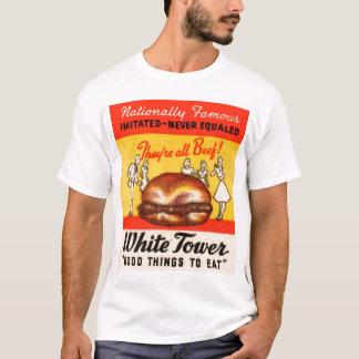 Hamburguesas blancas de la torre del vintage playera